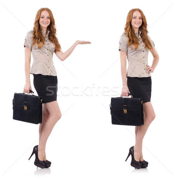 Pretty young employee with briefcase isolated on white Stock photo © Elnur