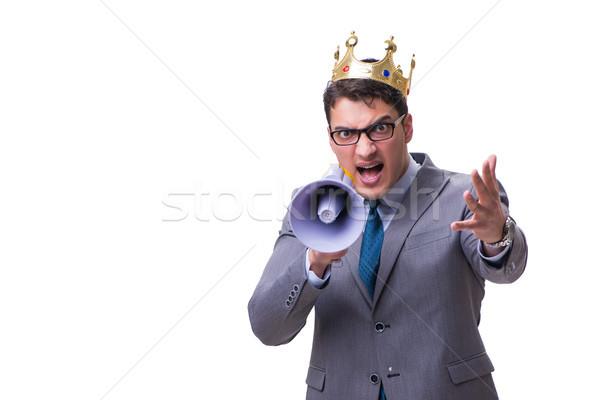 Króla biznesmen megafon odizolowany biały człowiek Zdjęcia stock © Elnur