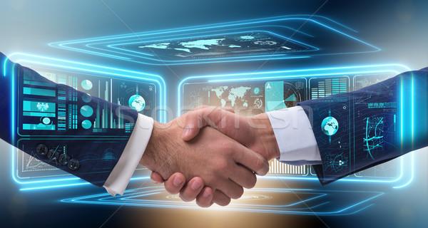 Handshake działalności metafora ilustracja strony technologii Zdjęcia stock © Elnur