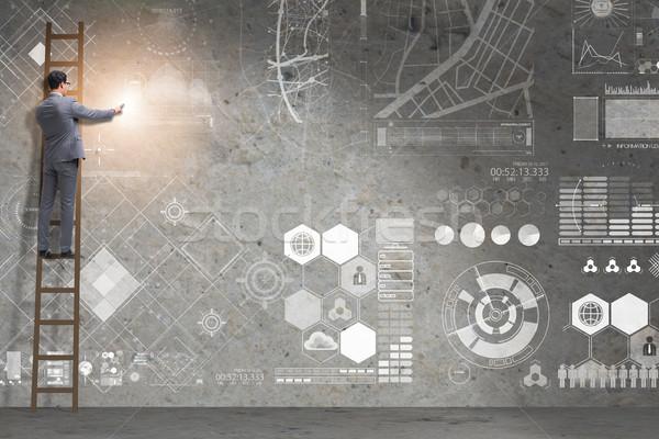 男 はしご データ 管理 コンピュータ インターネット ストックフォト © Elnur
