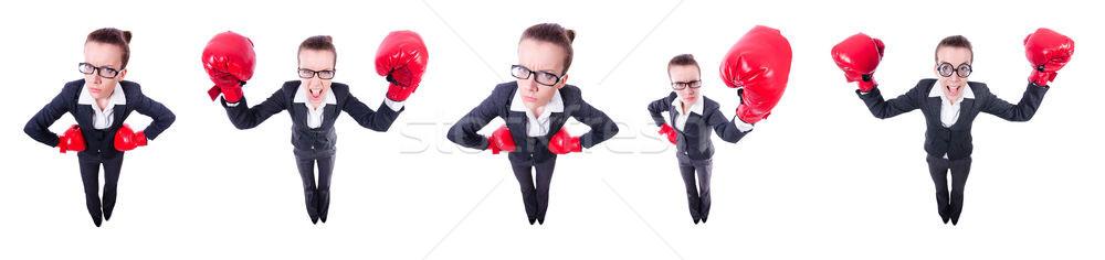 Collage of funny businesswoman on white Stock photo © Elnur
