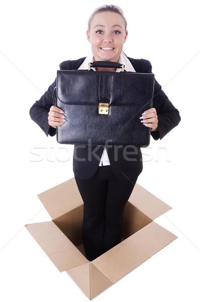 Woman with boxes on white Stock photo © Elnur