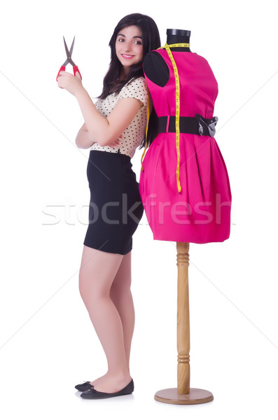 Stock photo: Young tailor isolated on the white