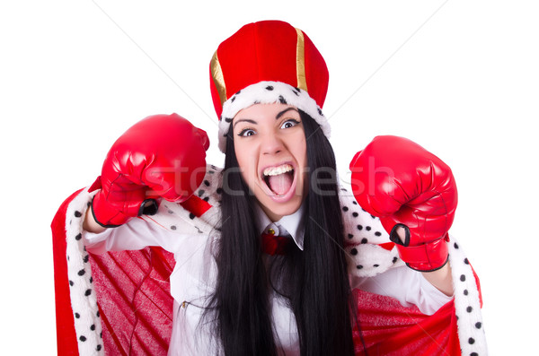 Businesswoman queen with boxing gloves Stock photo © Elnur