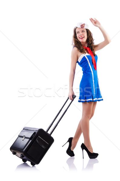 Kobieta marynarz walizkę biały uśmiech moda Zdjęcia stock © Elnur