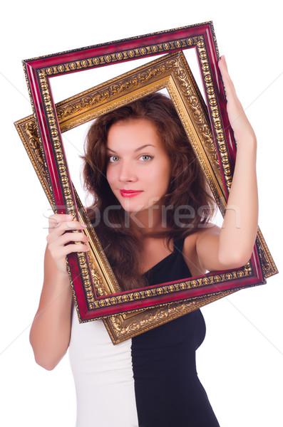 Vrouw fotolijstje witte hout mode schoonheid Stockfoto © Elnur