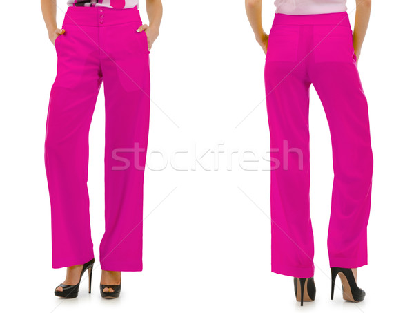 Broek model geïsoleerd jeans leder vrouwelijke Stockfoto © Elnur