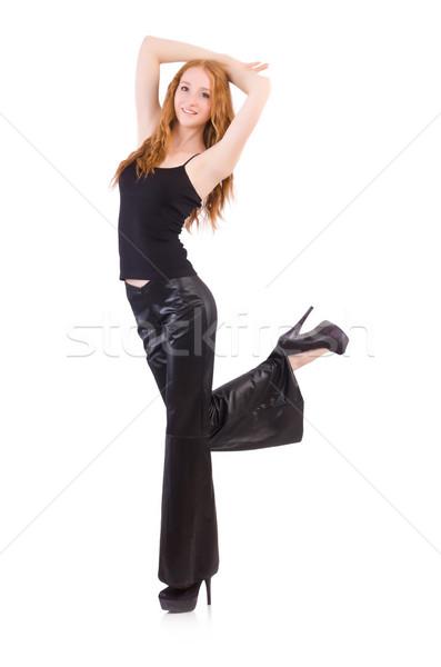 Vrouw zwarte bel bodem pants Stockfoto © Elnur