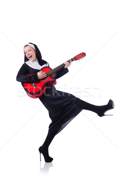 Freira jogar guitarra isolado branco música Foto stock © Elnur