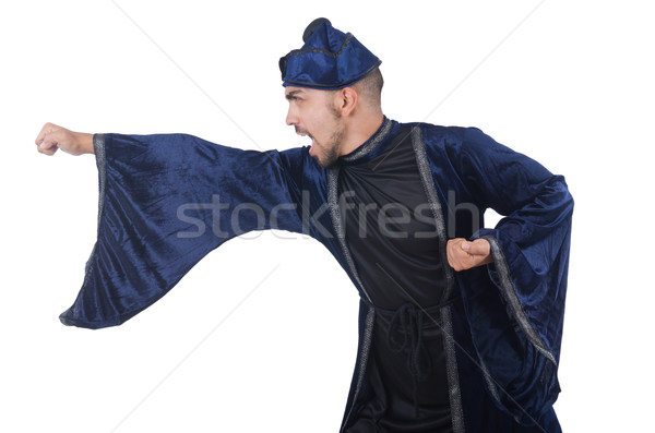 Old martial arts master in blue kimono on white Stock photo © Elnur