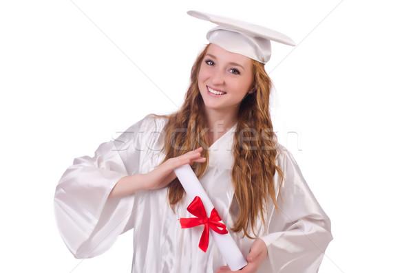 Posgrado nina diploma aislado blanco educación Foto stock © Elnur