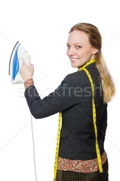 Kobieta krawiec odizolowany biały pracy model Zdjęcia stock © Elnur