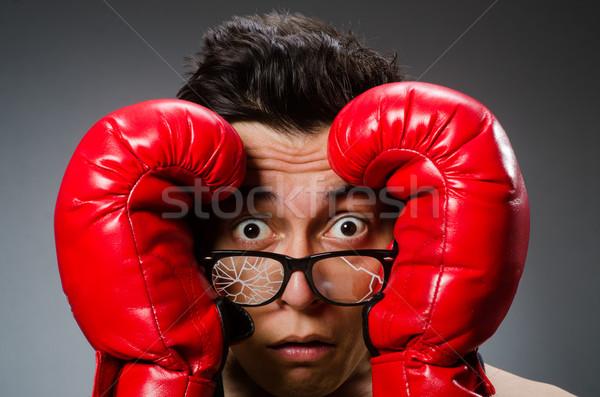 Grappig bokser Rood handschoenen donkere hand Stockfoto © Elnur