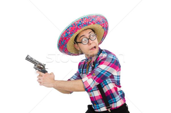 Grappig Mexicaanse sombrero hand man zelfmoord Stockfoto © Elnur
