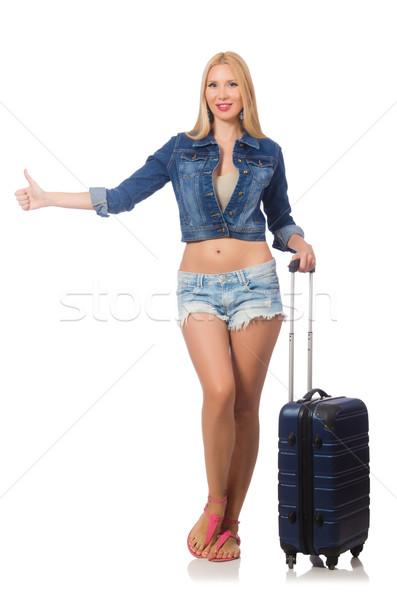 Stockfoto: Vrouw · lang · reizen · geïsoleerd · witte · meisje