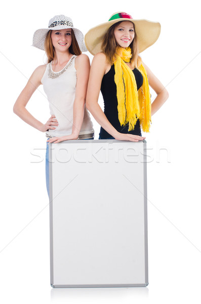 Young women with placard isolated on white Stock photo © Elnur