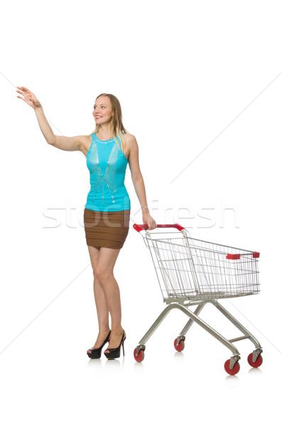 Mulher compras isolado branco feliz fundo Foto stock © Elnur