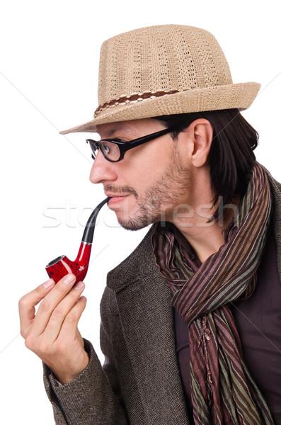 молодые детектив трубы изолированный белый улыбка Сток-фото © Elnur