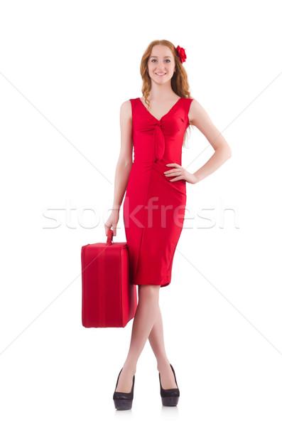 Frau roten Kleid Reise Fall isoliert weiß Stock foto © Elnur