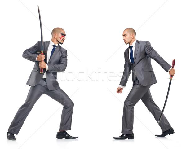 二人の男性 剣 孤立した 白 ビジネス ビジネスマン ストックフォト © Elnur