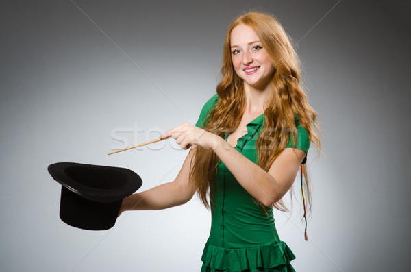 женщину маг зеленый платье стороны Сток-фото © Elnur