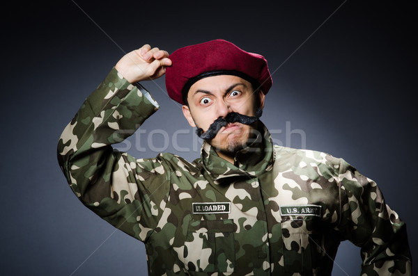 Funny soldier in military concept Stock photo © Elnur