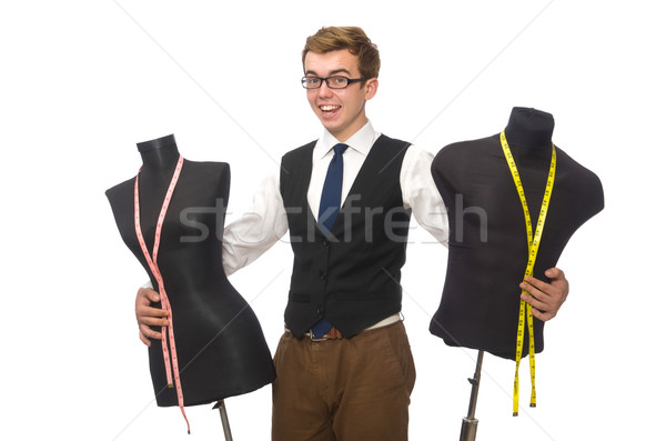 Fiatal férfi szabó izolált fehér férfi Stock fotó © Elnur