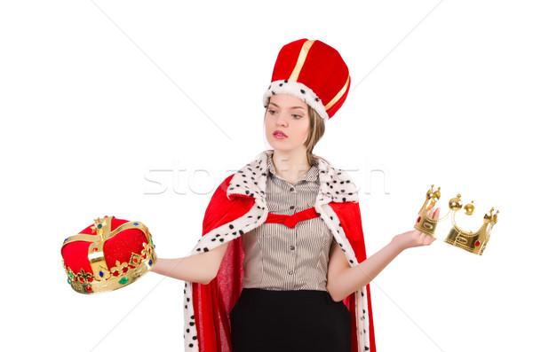 Mulher bonita coroa vermelho casaco isolado Foto stock © Elnur