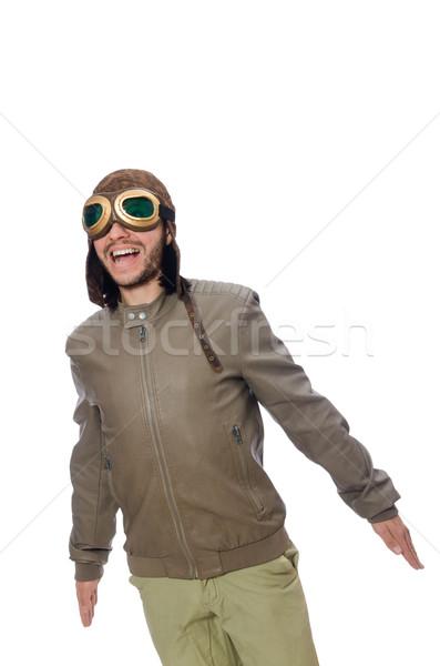 Engraçado piloto isolado branco cara homem Foto stock © Elnur