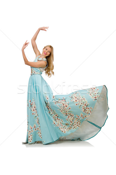 Woman in blue long dress with flower prints isolated on white Stock photo © Elnur