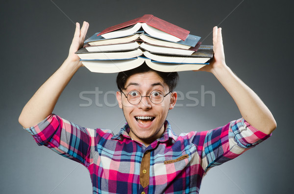 Komik öğrenci çok kitaplar adam arka plan Stok fotoğraf © Elnur