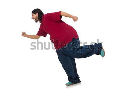 Nadwaga człowiek odizolowany biały sportu zdrowia Zdjęcia stock © Elnur
