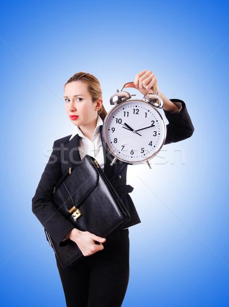 Femme femme d'affaires géant horloge bureau travaux Photo stock © Elnur