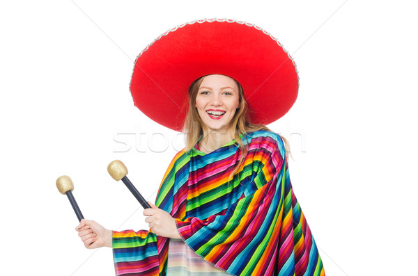 Pretty girl in mexican poncho shaking maracas isolated on white Stock photo © Elnur