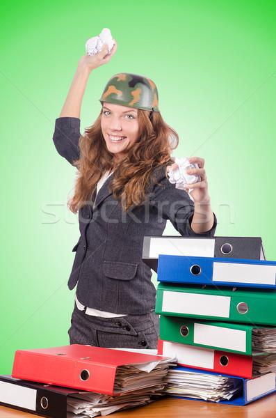 Oficina lucha femenino trabajador negocios mujer Foto stock © Elnur