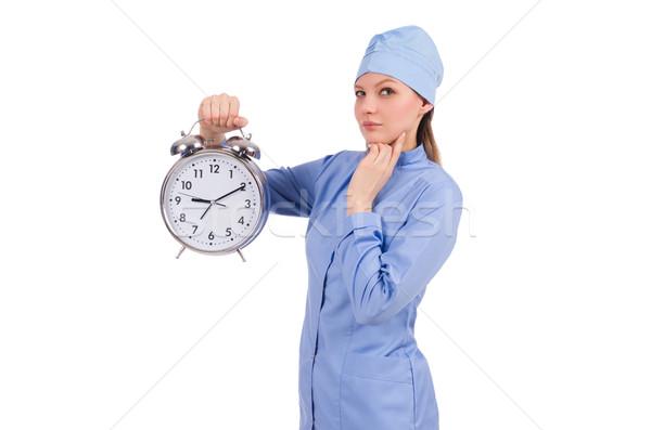 Mulher médico desaparecido prazos médico fundo Foto stock © Elnur