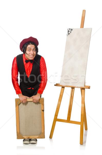 Grappig kunstenaar geïsoleerd witte werk student Stockfoto © Elnur