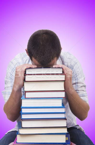 Diák könyvek fehér mosoly boldog háttér Stock fotó © Elnur