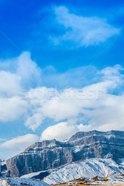 Foto stock: Montanas · invierno · Azerbaiyán · paisaje · nieve · azul