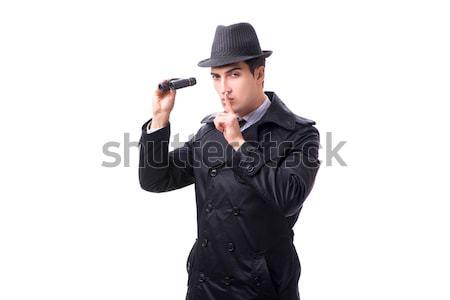 Criminal in black coat holding hadgun against gray Stock photo © Elnur