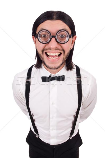 Man bretels blanke man gelukkig werk Stockfoto © Elnur