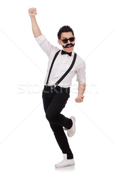 Fiatalember bajusz izolált fehér háttér vicces Stock fotó © Elnur