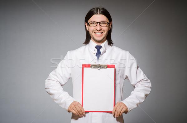 Férfi orvos napló szürke férfi orvosi háttér Stock fotó © Elnur