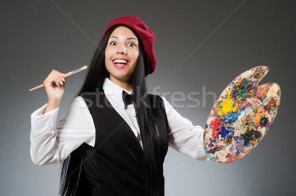 Engraçado artista trabalhando estúdio quadro arte Foto stock © Elnur