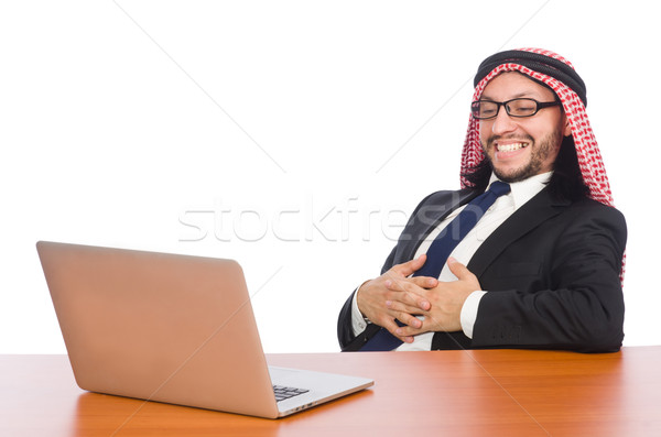 Arab businessman with computer on white Stock photo © Elnur
