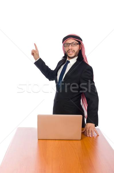 Árabe empresário computador branco negócio sorrir Foto stock © Elnur