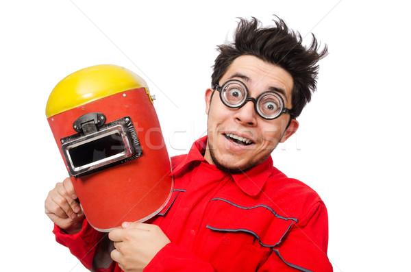 Vicces hegesztő izolált fehér férfi építkezés Stock fotó © Elnur