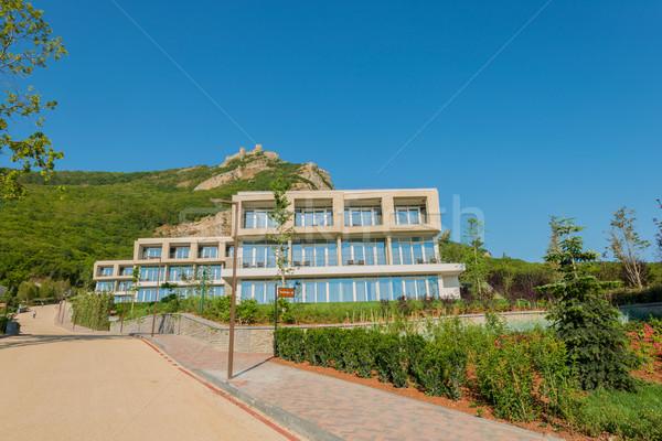 Stockfoto: Moderne · huis · heldere · zomer · dag · hemel