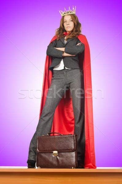 Stockfoto: Koningin · zakenman · permanente · bureau · vrouw · meisje