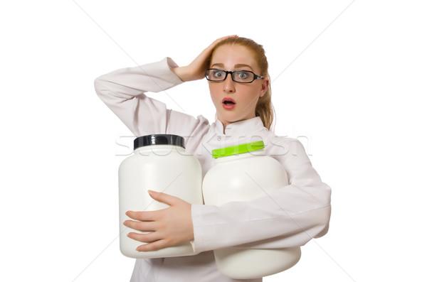 Jóvenes femenino médico jar proteína Foto stock © Elnur
